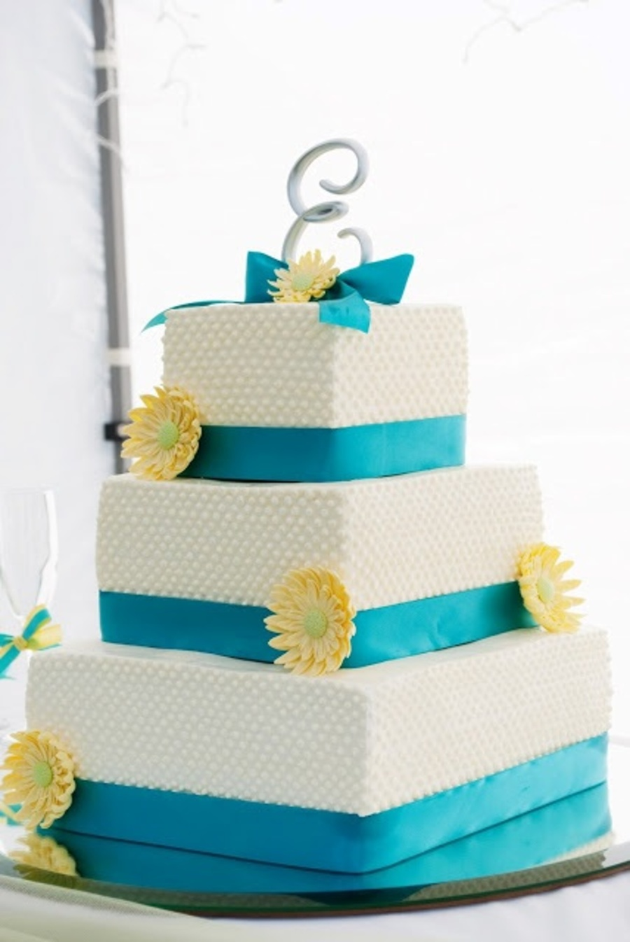 turquoise and yellow wedding cake. Black Bedroom Furniture Sets. Home Design Ideas