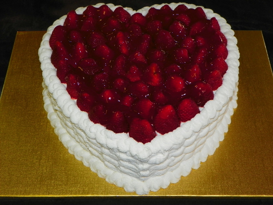 A Valentines Day Special Lemon Cake With Lemon Curd Filling Buttercream Icing Basketweave And Fresh Glazed Strawberries On Top on Cake Central