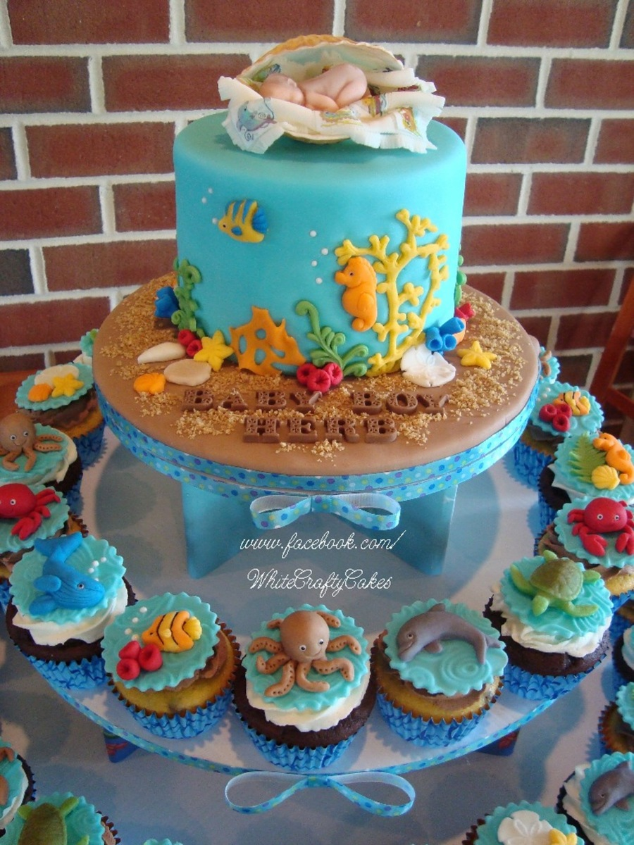 I Made This Cake And Cupcake Tower For A Under The Sea ...