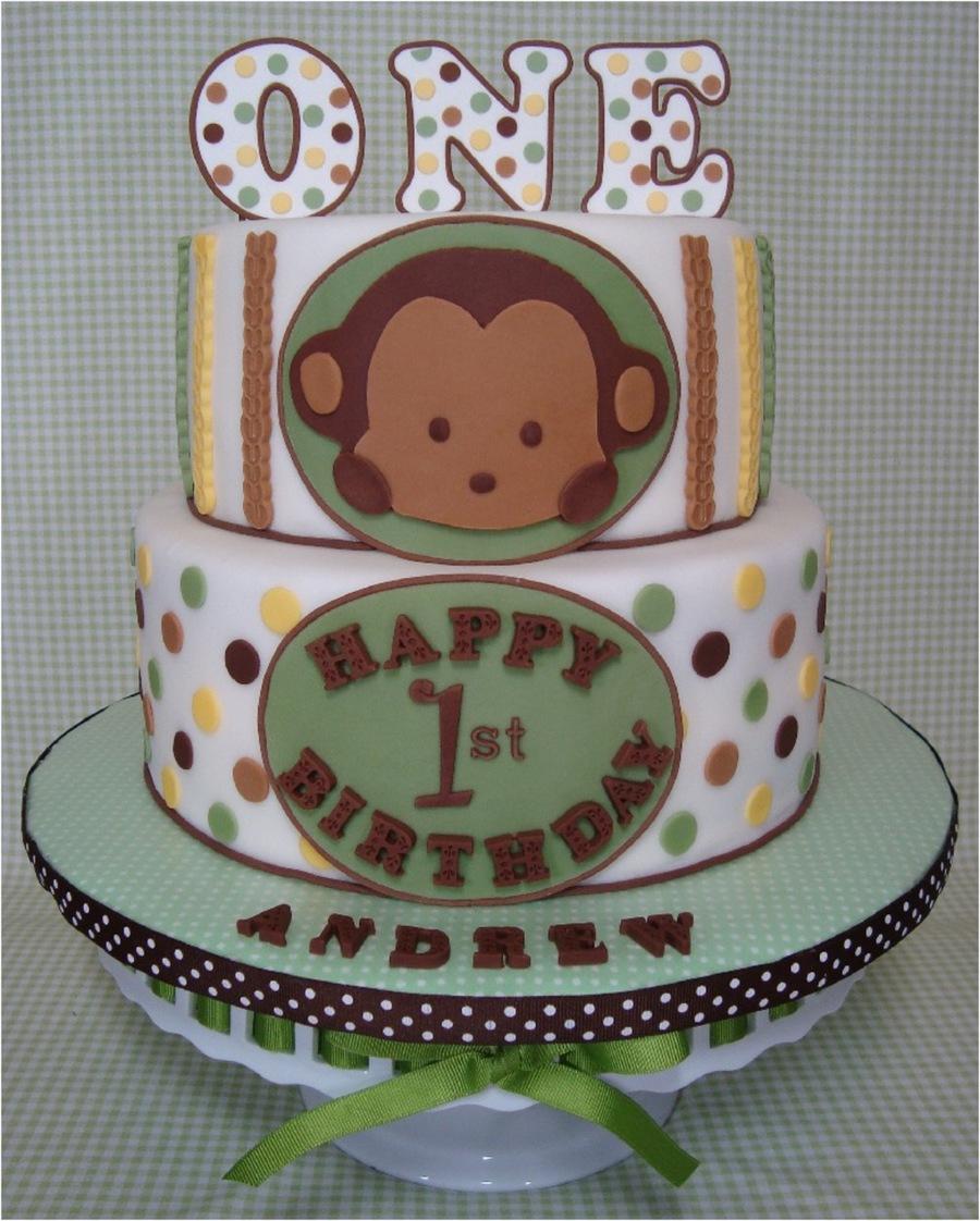 Amazing Mod Pod Pop Monkey First Birthday Cake And Smash Cake Personalised Birthday Cards Veneteletsinfo