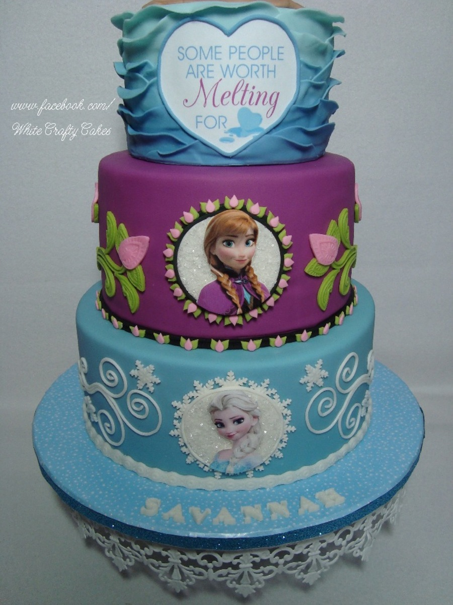 Frozen Cake With Anna Elsa And Olaf In Summer Cakecentral