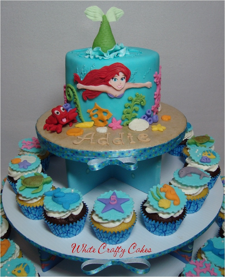 Ariel The Little Mermaid Cake And Cupcake Tower Made For A Sweet Girl S 5th Birthday I Was Inspired By Lovely Angela Angel Food