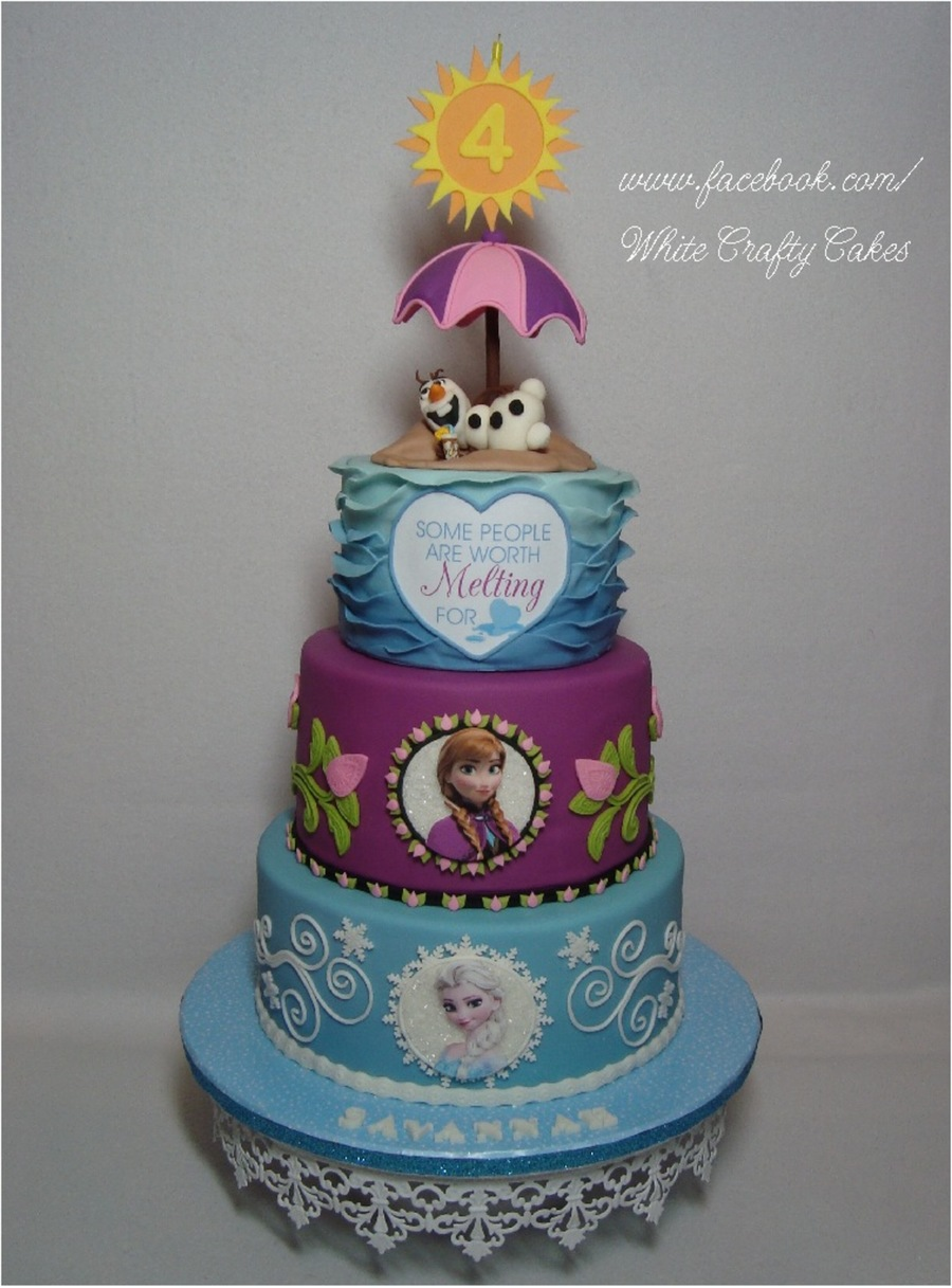 Frozen Cake With Anna Elsa And Olaf In Summer