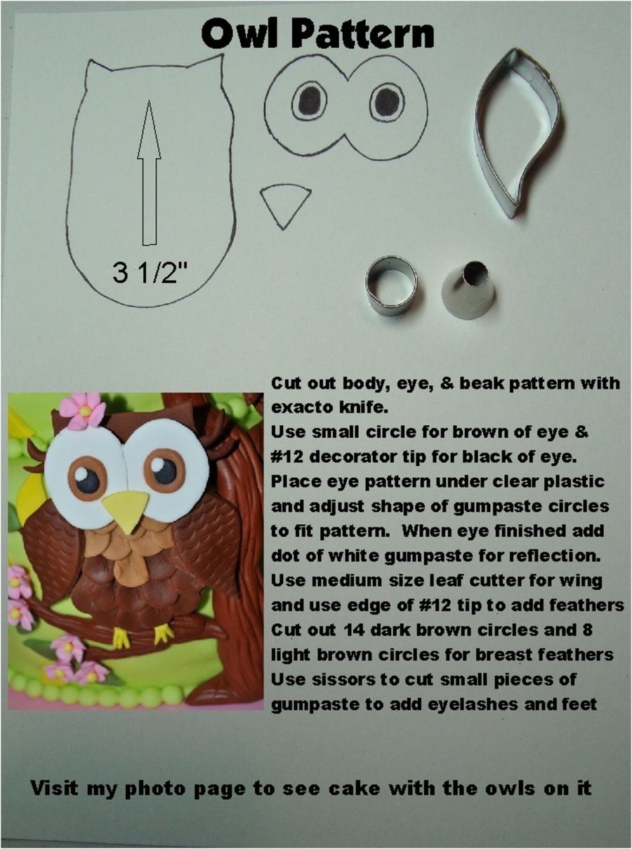 Owl Pattern & Directions on Cake Central