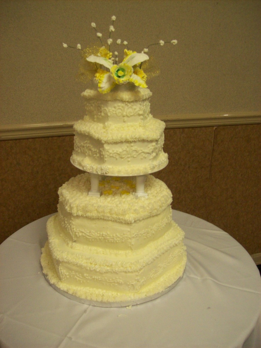 Ornamental Orchid Topper Wedding Cake on Cake Central