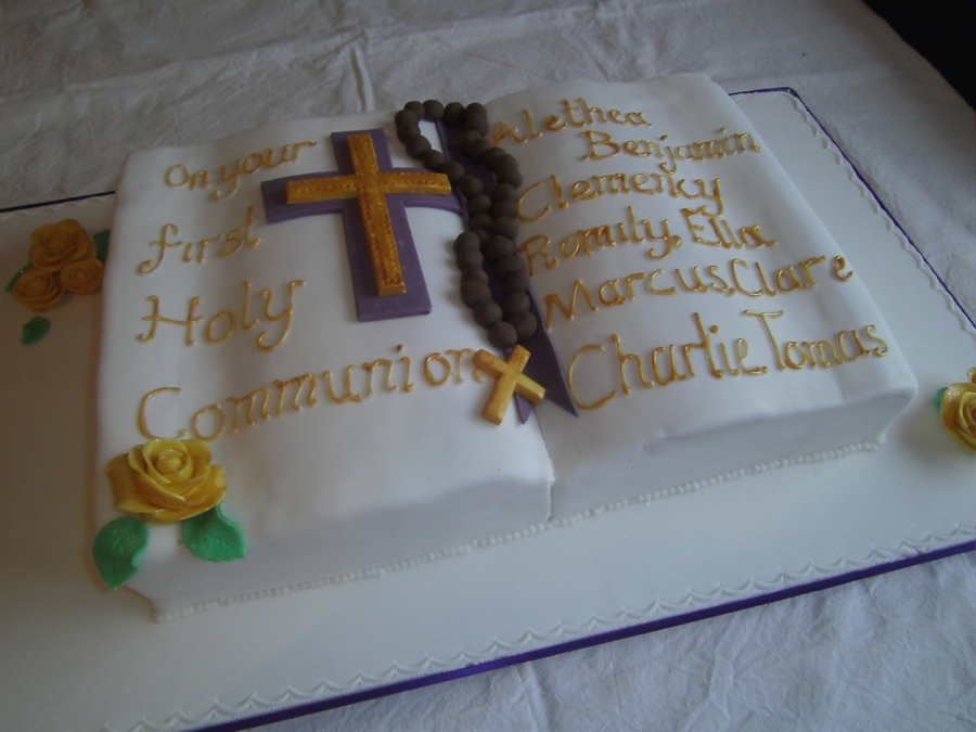 White And Gold Bible Cake on Cake Central