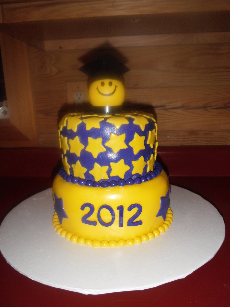 2012 Purple And Yellow Graduation Cake on Cake Central