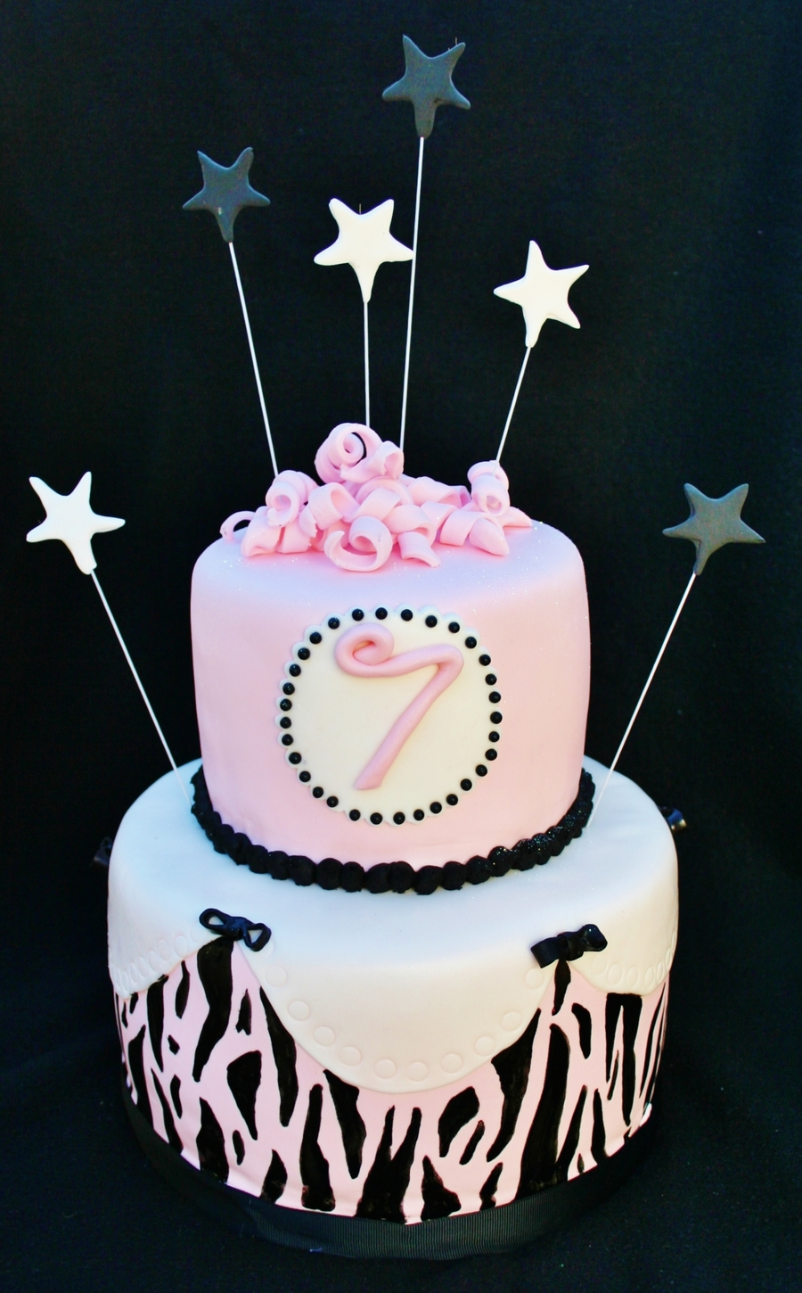 Pink, Black & White Star Cake on Cake Central