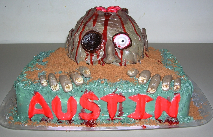 Peachy Zombie Birthday Cake Cakecentral Com Personalised Birthday Cards Veneteletsinfo