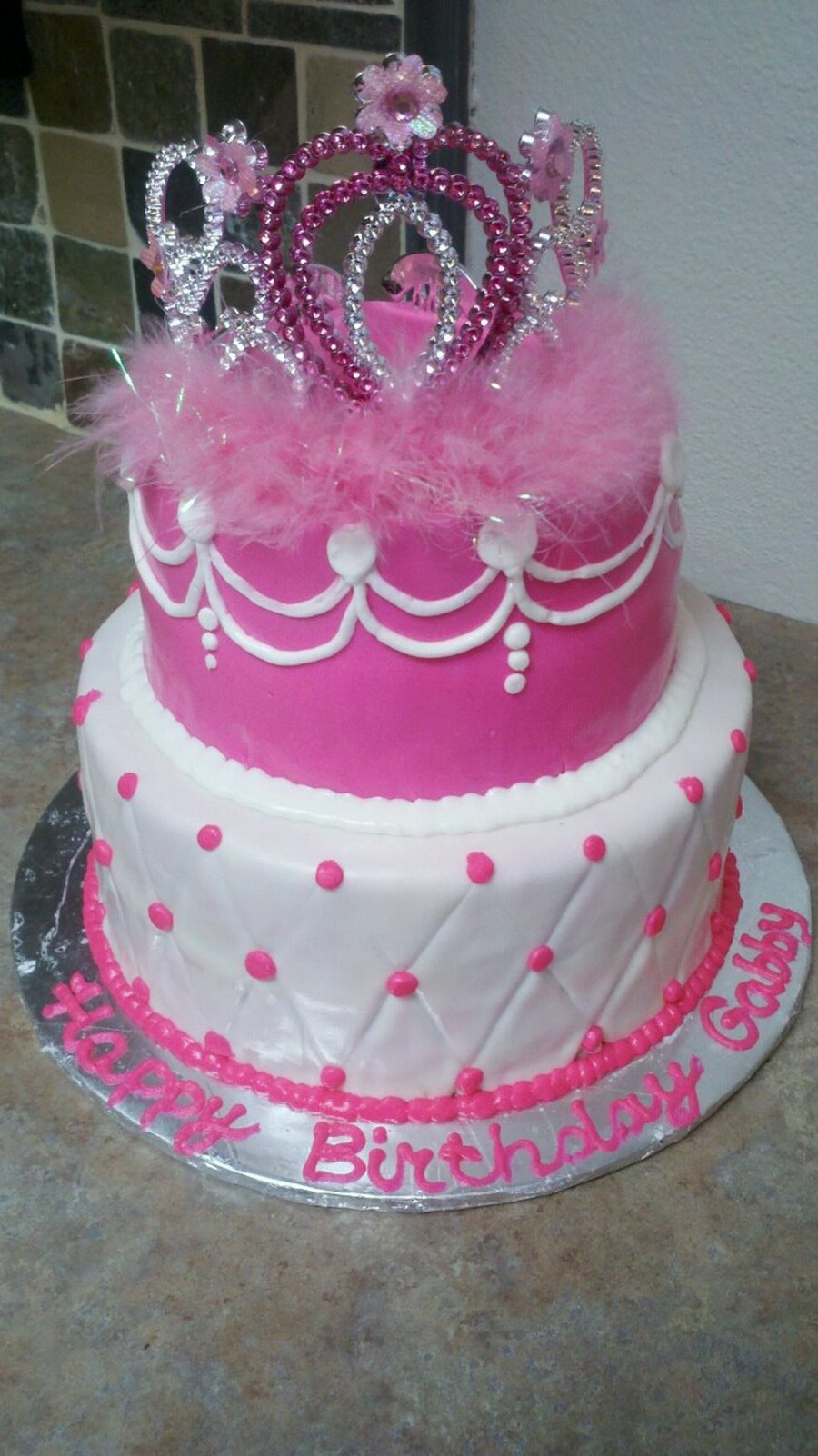 Super Pink Princess Crown Birthday Cake Cakecentral Com Funny Birthday Cards Online Alyptdamsfinfo