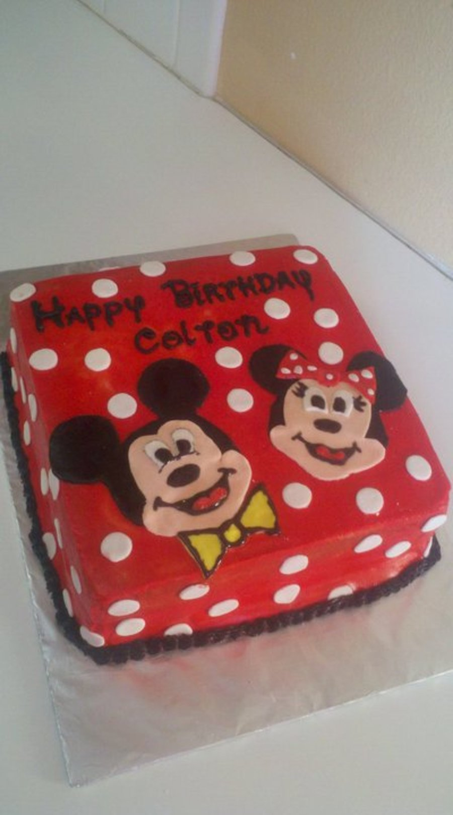 Mickey And Minnie Mouse Red Polka Dot Cake Cakecentral Com