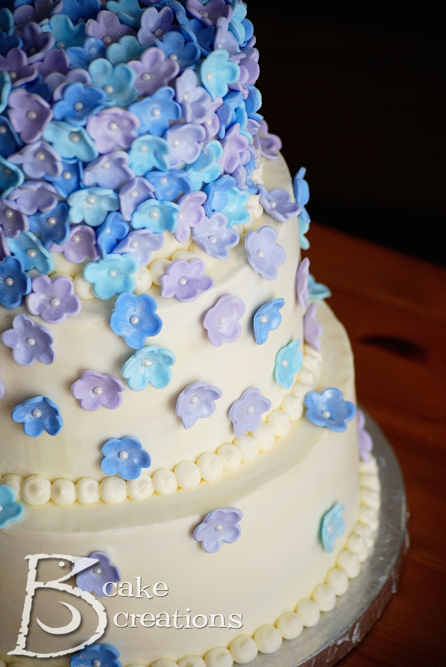 Blue And Purple Wedding Cake - CakeCentral.com
