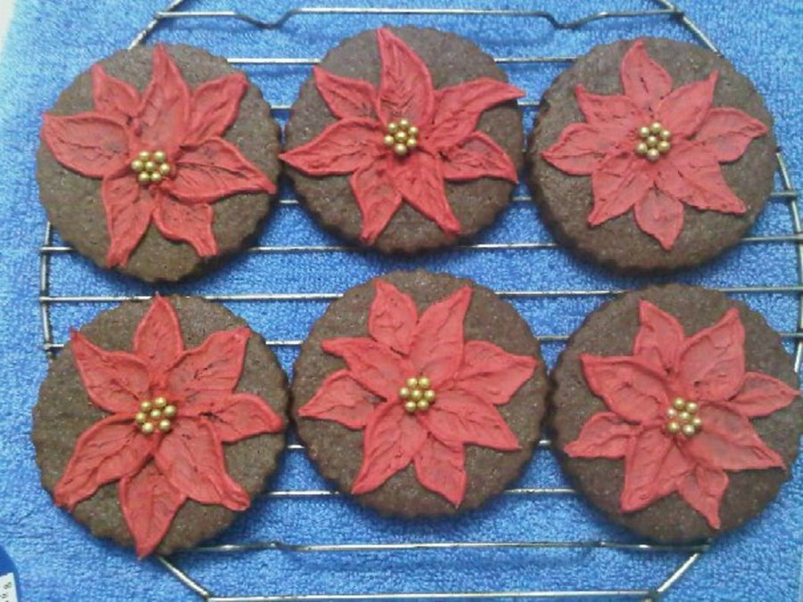 Poinsettias On Mint Chocolate Sugar Cookies on Cake Central