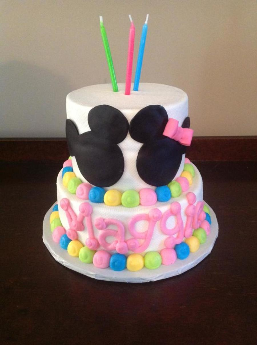 Amazing Mickey And Minnie Birthday Cake In Pastel Colors Cakecentral Com Funny Birthday Cards Online Inifodamsfinfo