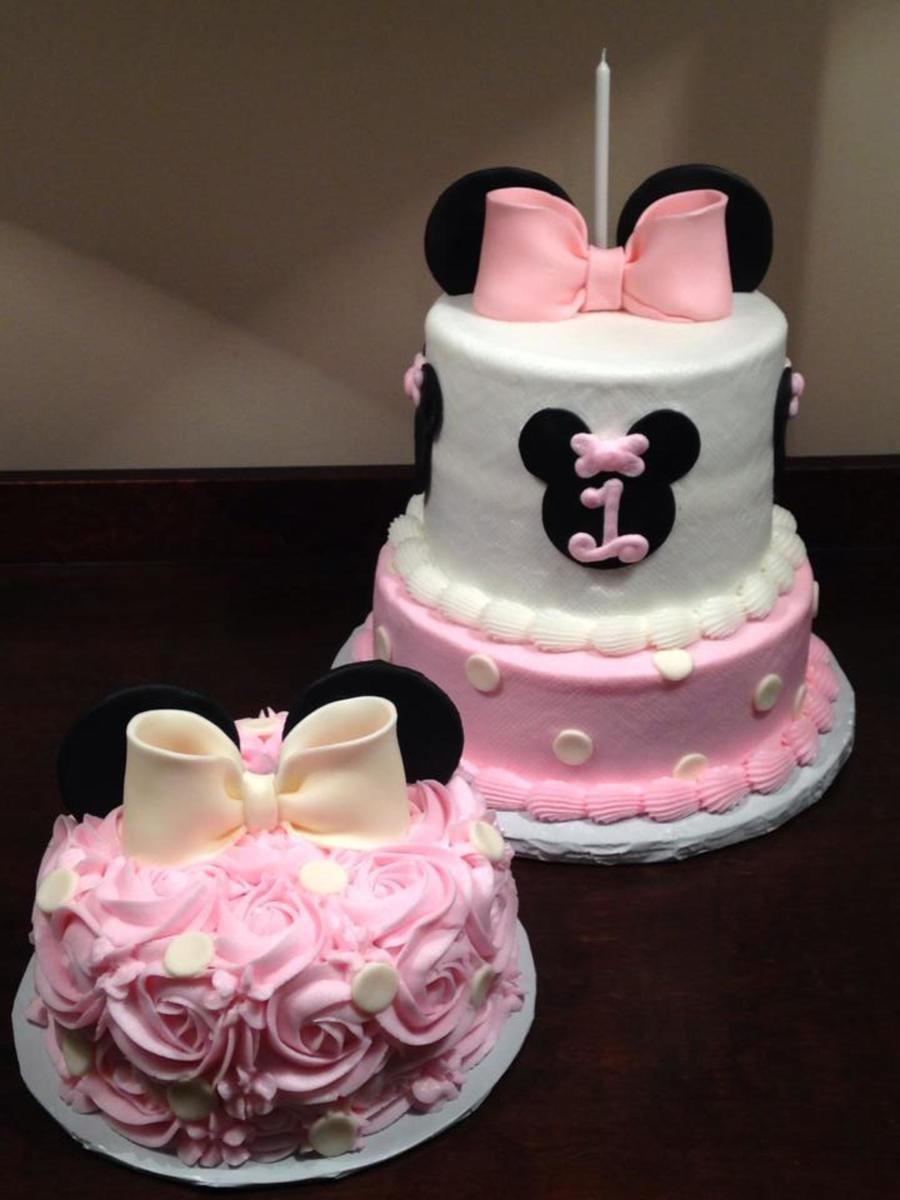 Minnie Mouse Themed First Birthday Cake With Rosette Smash Cake