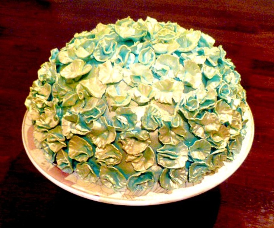Turquoise And Gold Cake Filled With Pistachio Cream on Cake Central