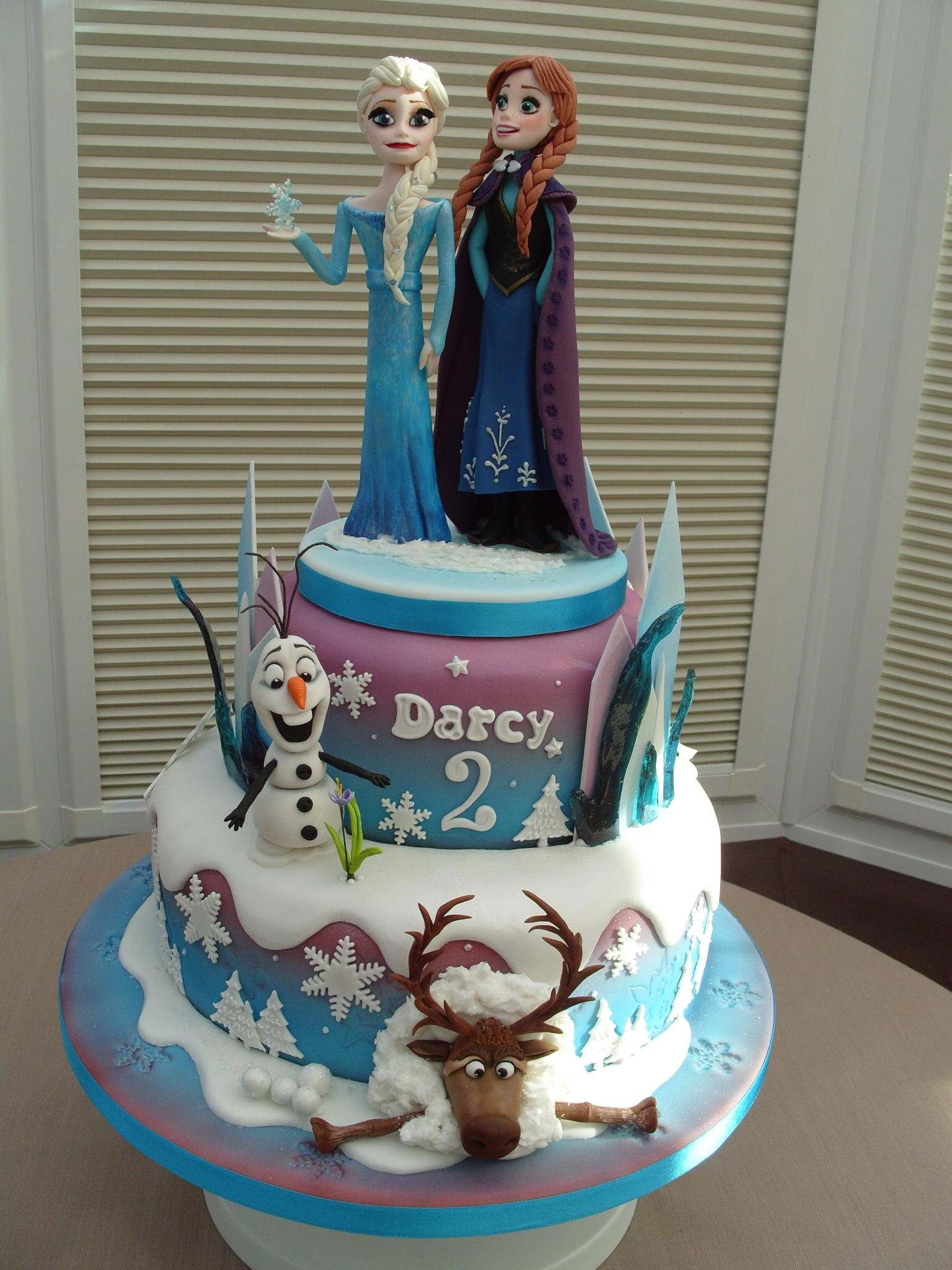Disneys Frozen Cake Choc Swirl And Strawberry Swirl Madeira Cake