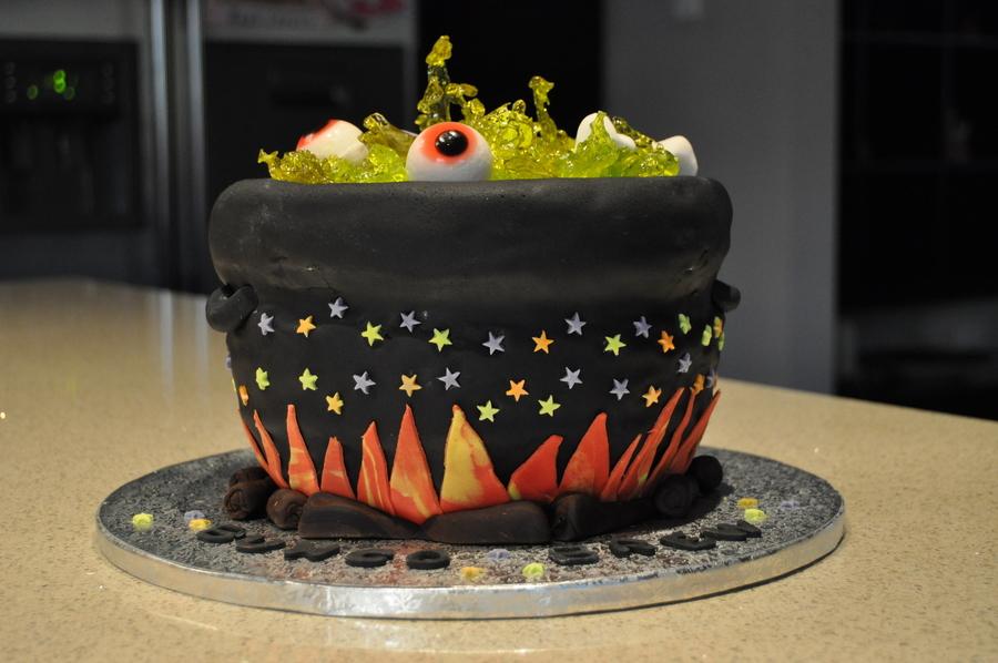 Halloween Witches Cauldron Cake