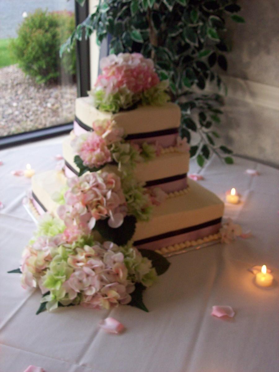 Pink Hydrangia Wedding Cake   CakeCentral.com