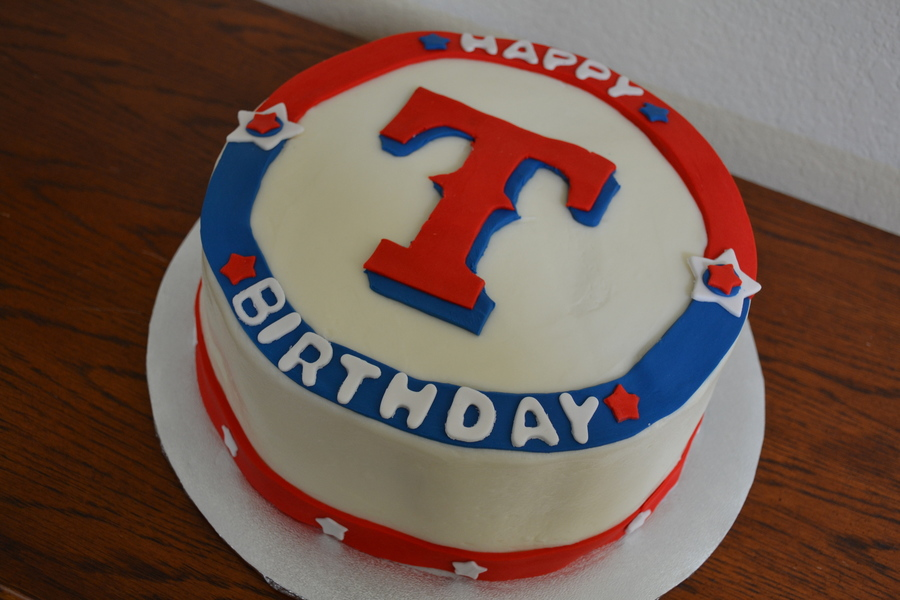Red White Amp Blue Texas Rangers Baseball Birthday Cake
