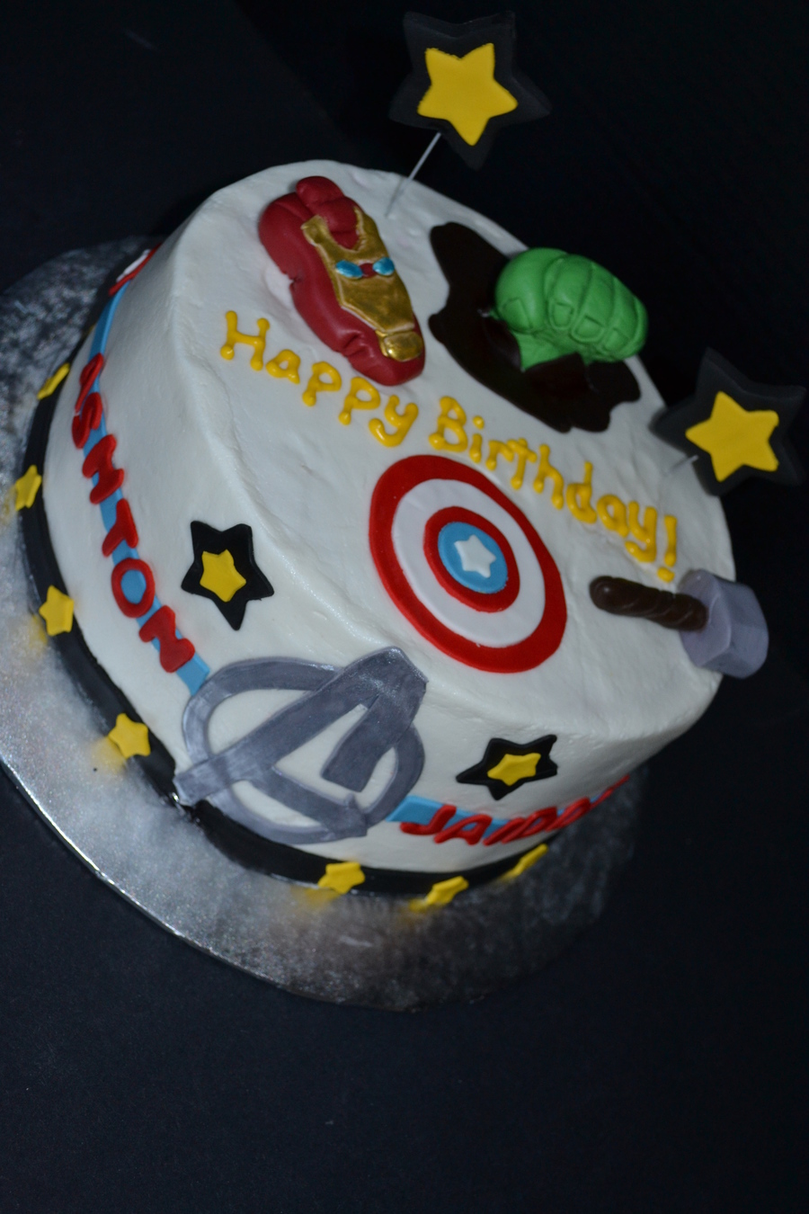 Remarkable Avengers Birthday Cake With Thor Captain America Incredible Hulk Personalised Birthday Cards Paralily Jamesorg