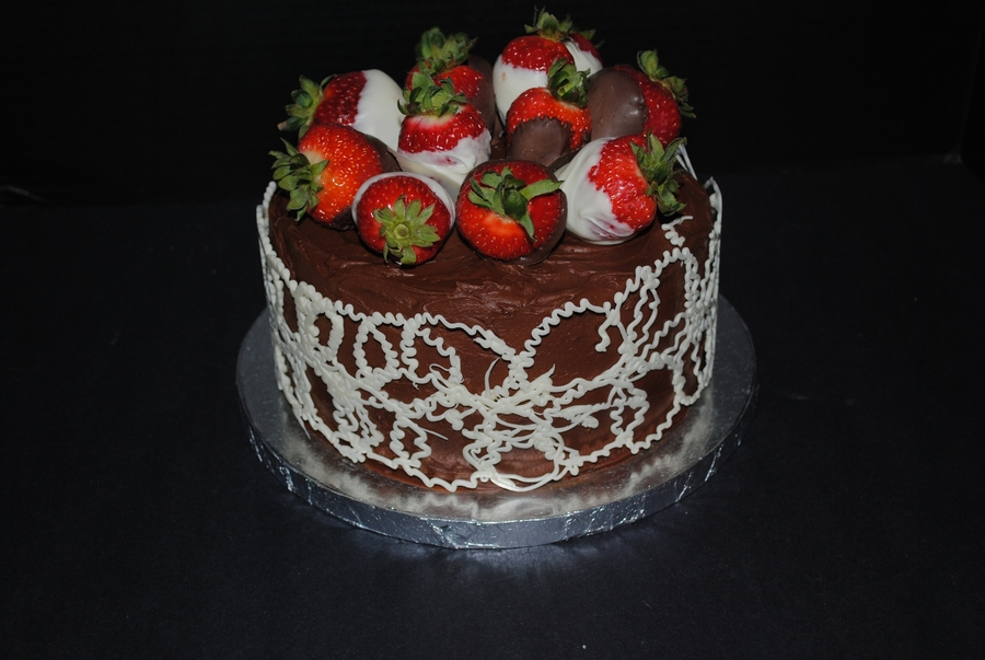 Chocolate Strawberry Cake With Wrap on Cake Central