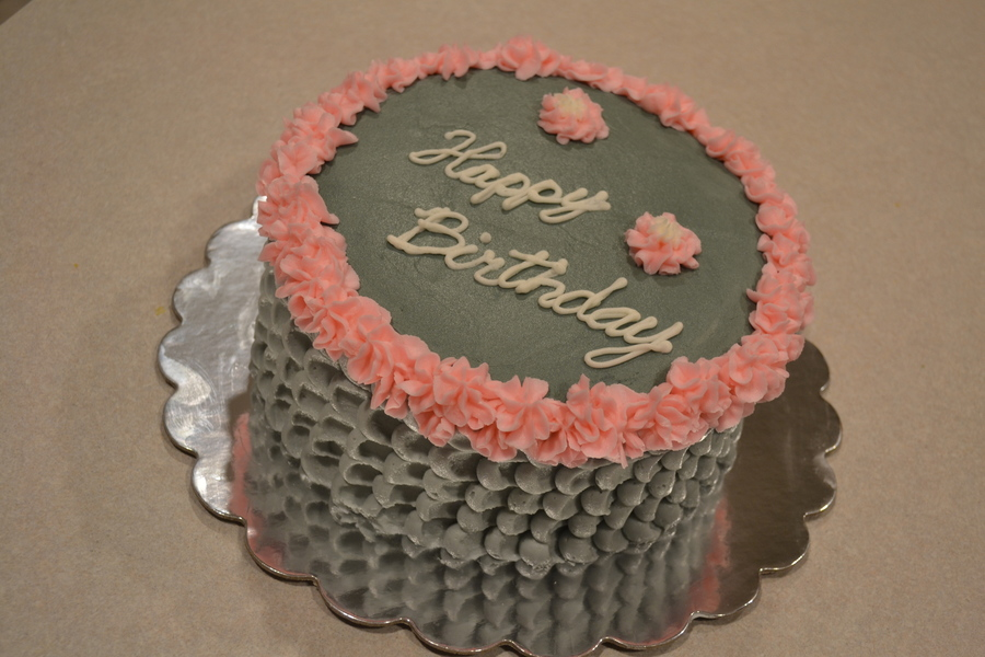 Gray Buttercream Ruffled Cake With Pink Flowers on Cake Central