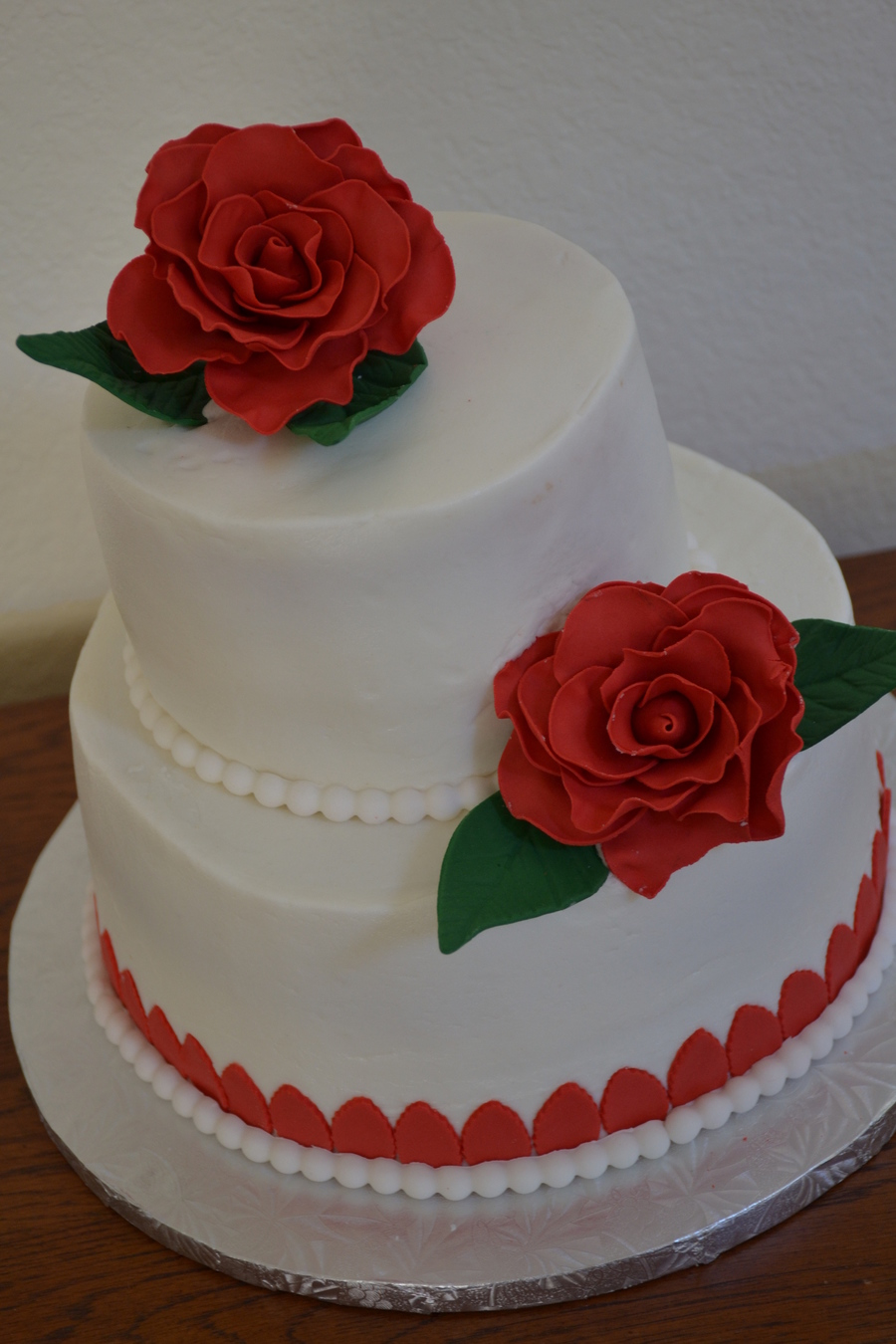 red and white 2 tier wedding cakes 2 tier white with roses and pearls cakecentral 19089