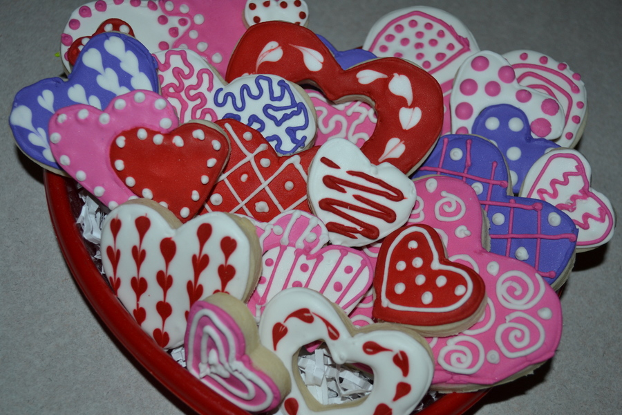 Pink Red Purple Amp White Valentine Cookies on Cake Central