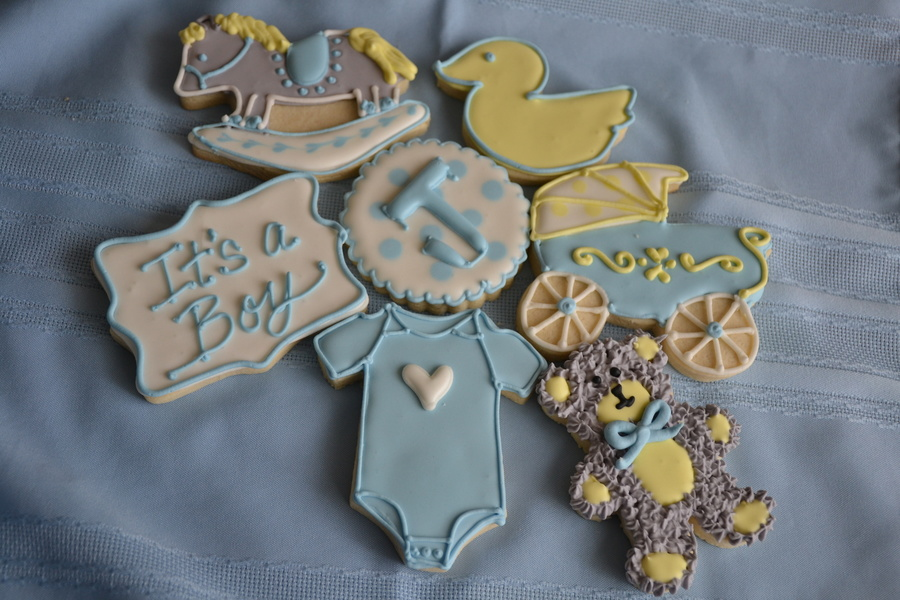 Baby Boy Shower Cookies Yellow Gray Blue Amp White Rocking Horse Its