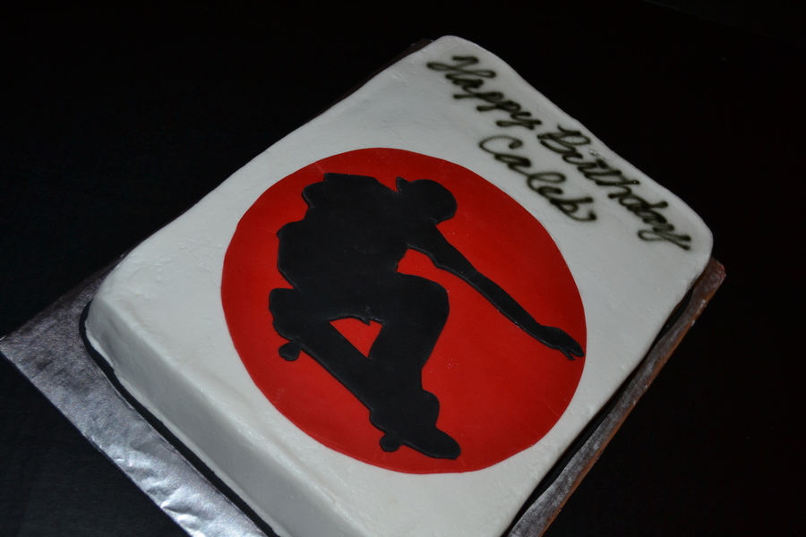 Black Amp Red Skateboard Silhouette on Cake Central