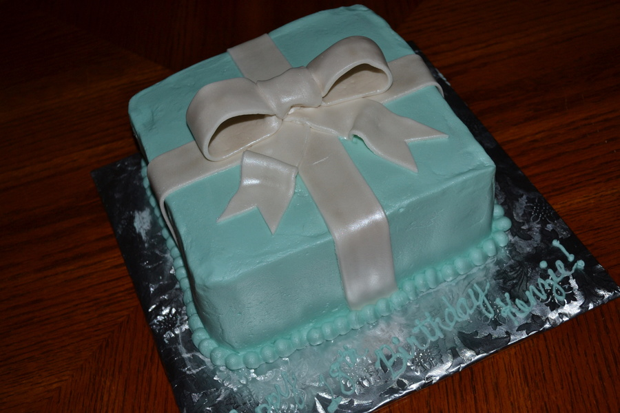 Tiffany Blue Gift Box In Buttercream on Cake Central