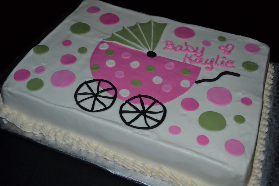 Hot Pink Amp Sage Green Baby Carriage Baby Shower Cake With Polka
