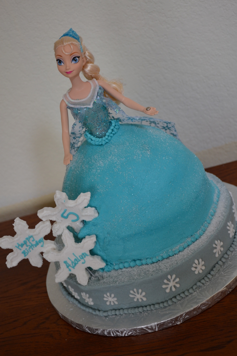 Elsa Doll Cake Decoration : Frozen Elsa Doll Cake Teal Amp Gray With Snowflakes ...