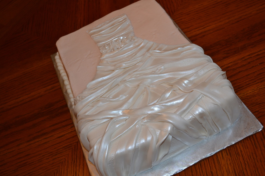 Peach With Pearl Fondant Wedding Gown on Cake Central