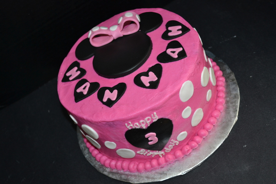 Pink Amp Black Minnie Mouse Birthday Cake With Polka Dots And Hearts