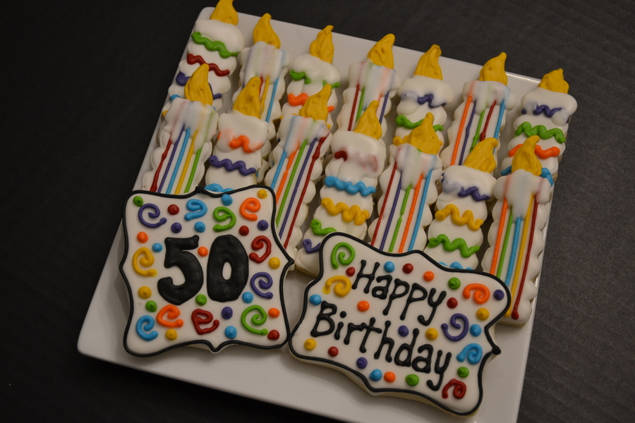 50Th Birthday Candle Cookies On Cake Central
