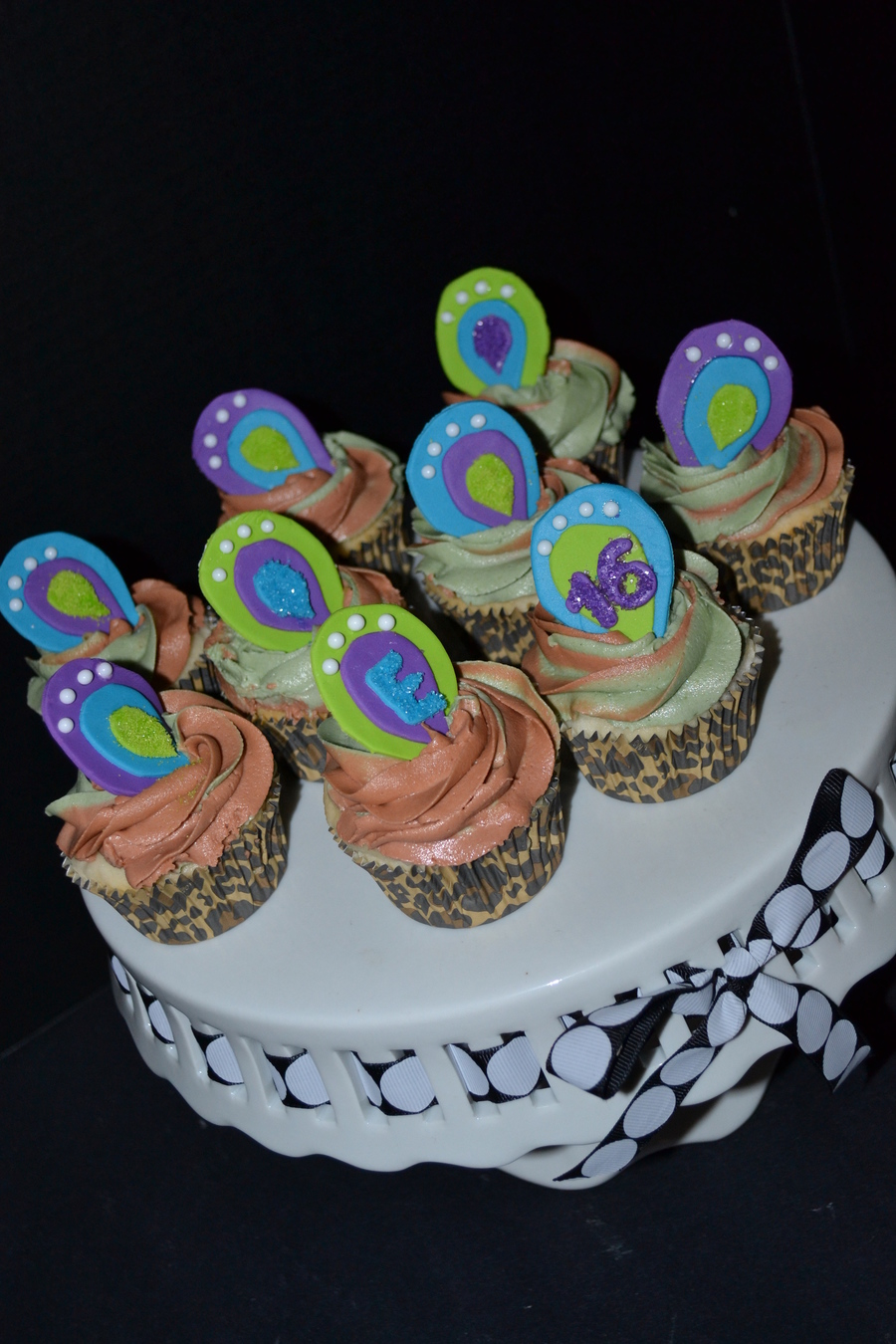 Pea Amp Cheetah Themed Cupcakes Lime Green Bright Blue Amp Purple on Cake Central