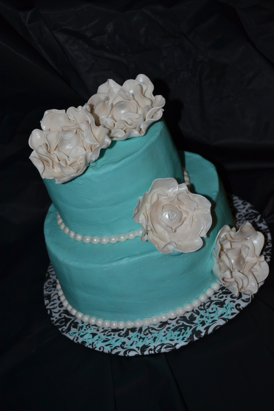 Tiffany Blue Tiered Cake With Pearls And White Frilled Roses on Cake Central