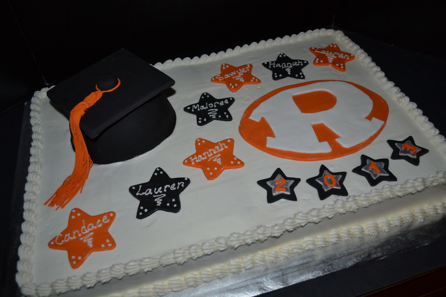 Orange Amp Black Rockwall High School Rockin R Graduation Cake With Stars And Graduation Cap on Cake Central