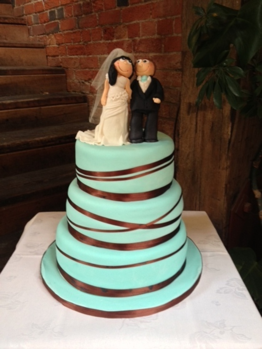 3 Tiered Wedding Cake To Matdch The Couples Colour Scheme The Bottom Tier Is Rich Chocolate Mud With Vanilla Bean Buttercream The Middle I... on Cake Central