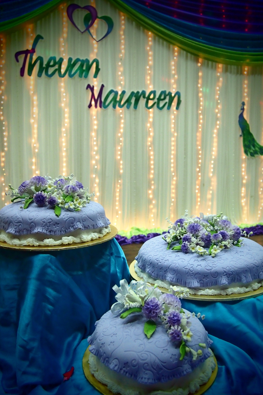 Wedding Cake Purple Theme on Cake Central