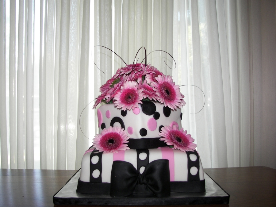 Black And Pink Wedding Cake on Cake Central