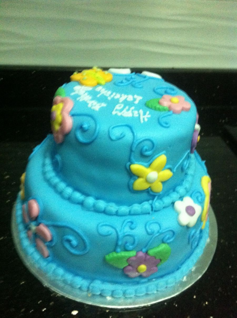 Flowers And Butterflies Birthday Cake on Cake Central