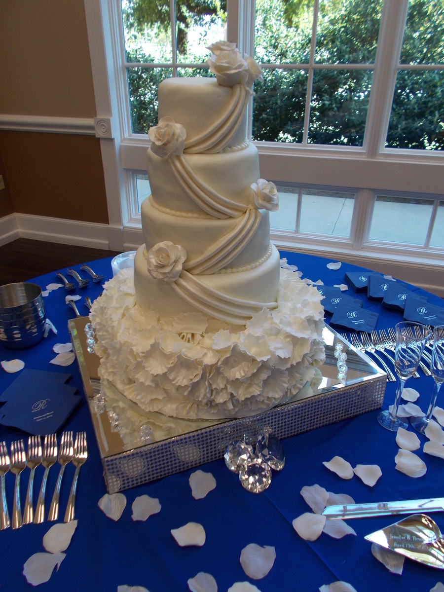 5 Tier Round Wedding Cake Covered In Fondant With Roses