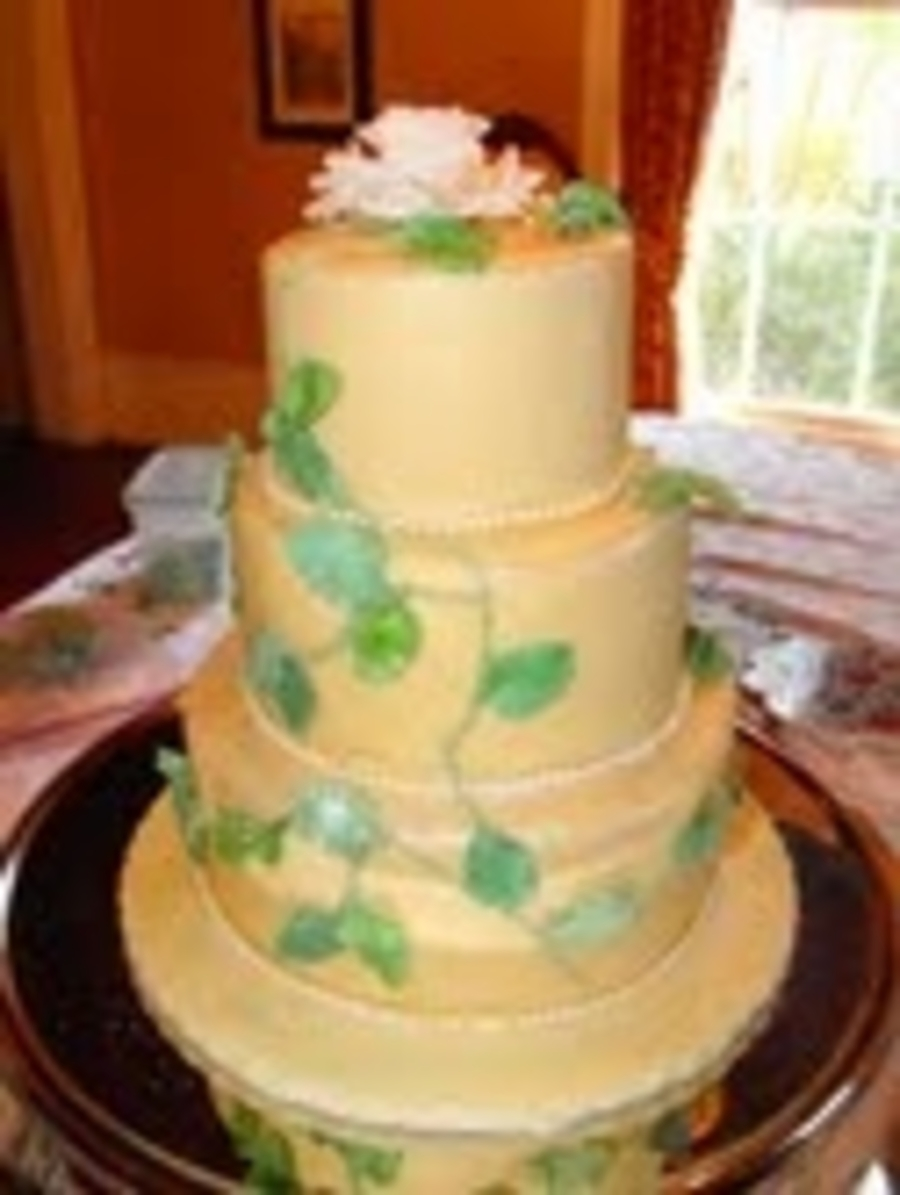 Leaves And Rose Cake - CakeCentral.com