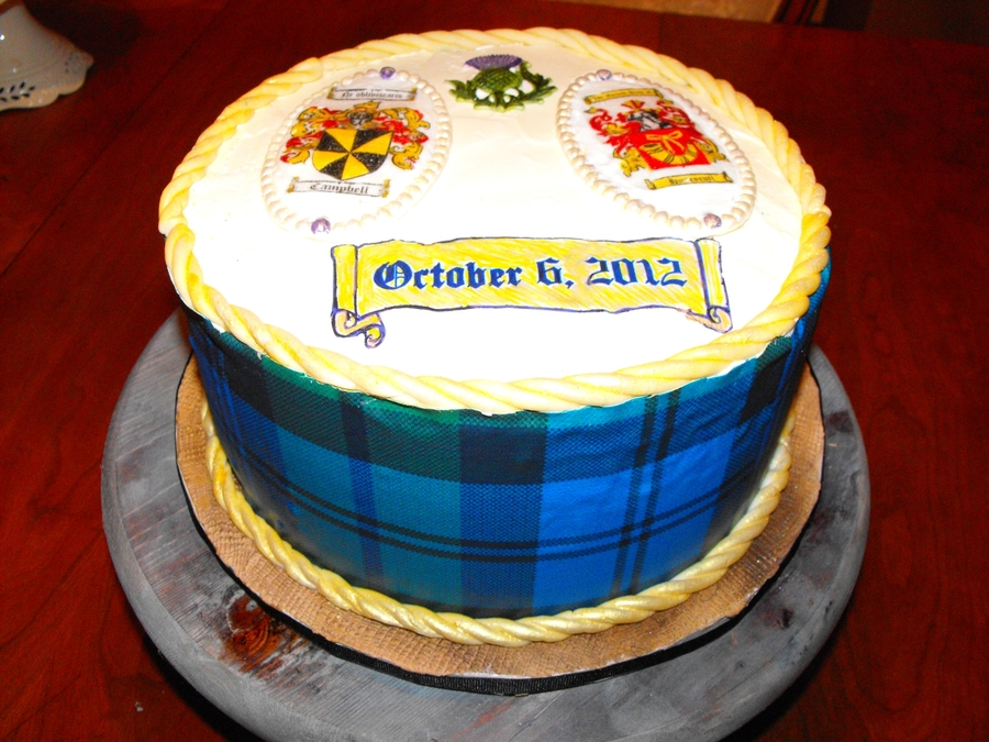 Tartan Grooms Cake on Cake Central