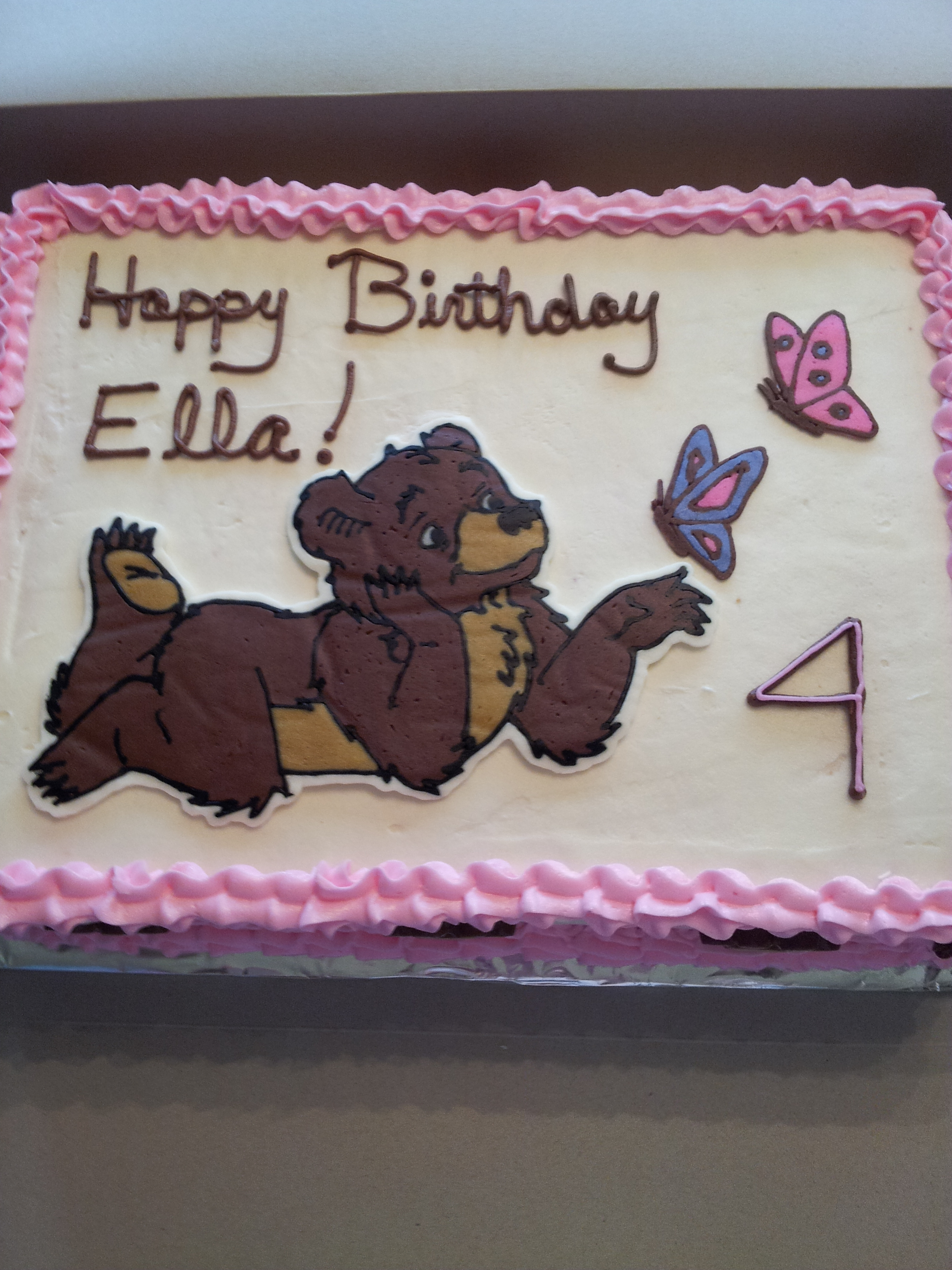 Miraculous Little Bear For My Nieces 4Th Birthday Cake Is Strawberry W Funny Birthday Cards Online Sheoxdamsfinfo