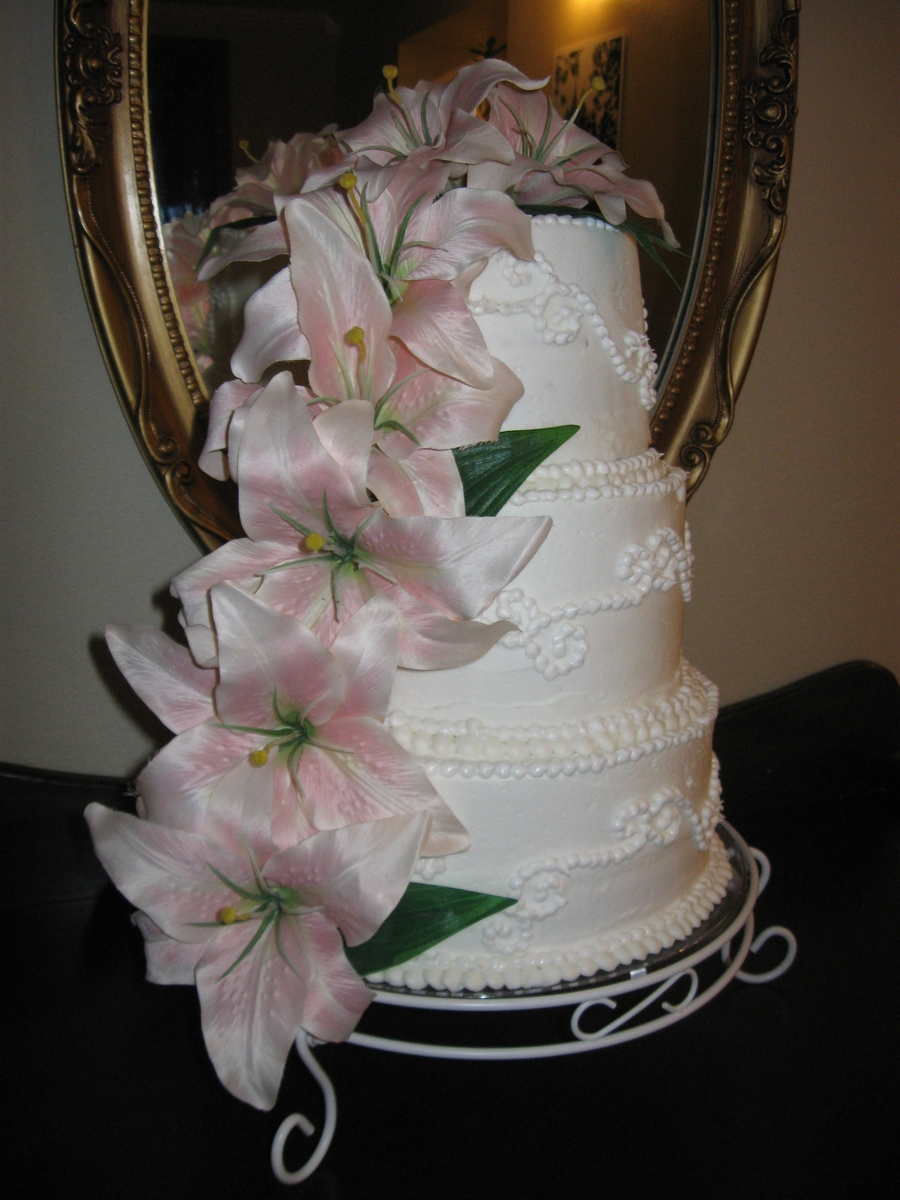 Three Tiered White Wedding Cake on Cake Central