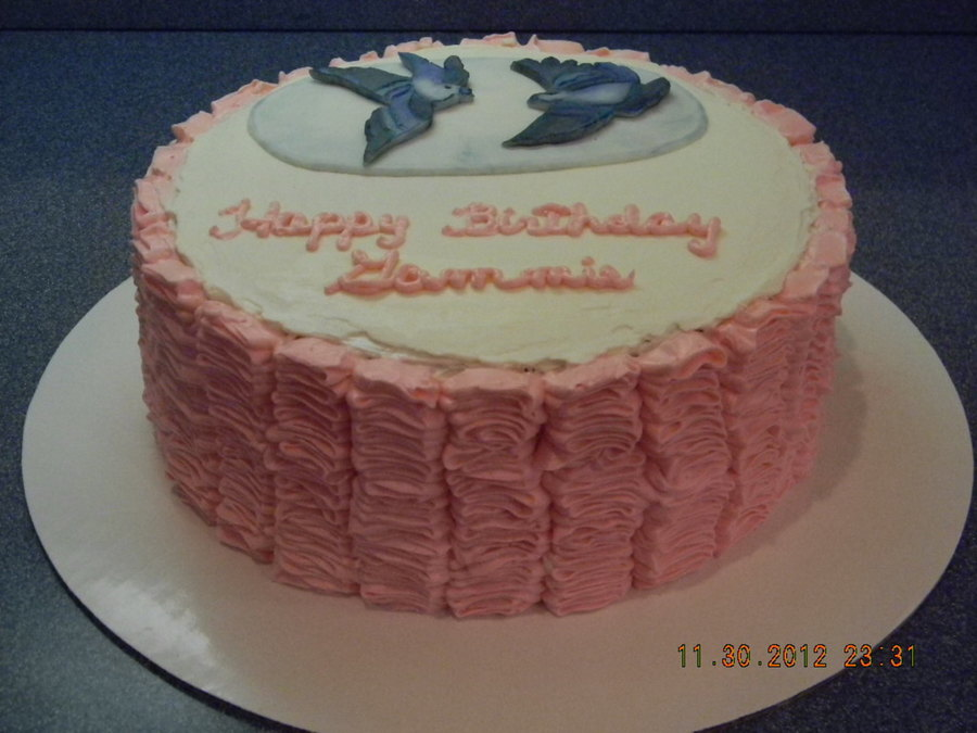 Pink Lemonade Cake With Lemon Buttercream Filling Smbc Frosting And Painted Blue Birds On Gumpaste on Cake Central